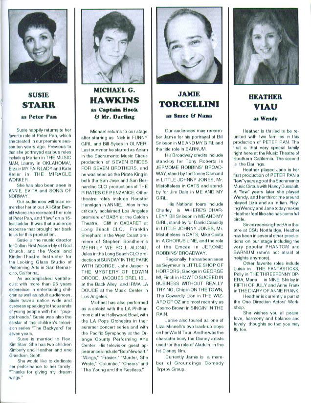 Susie Starr Peter Pan San Gabriel Light Opera program 1994