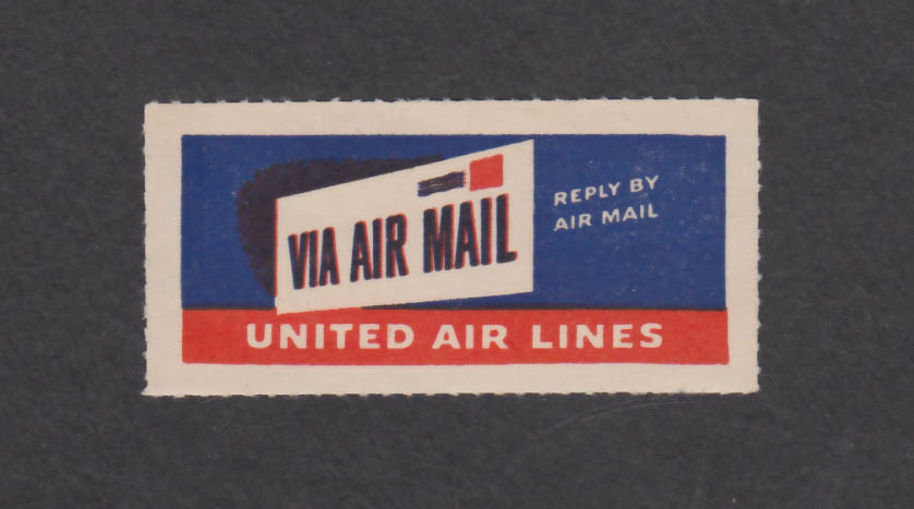 United Air Lines Air Mail envelope sticker 1940s