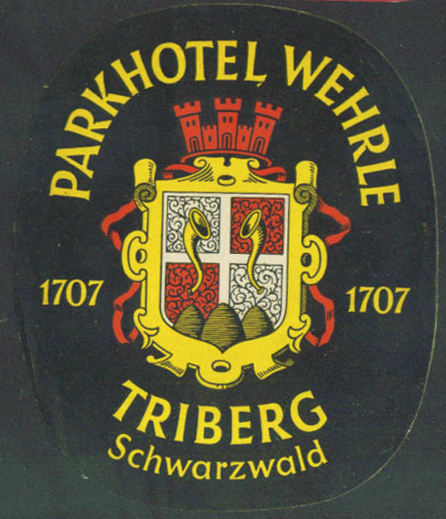 Parkhotel Wehrle Triberg Germany baggage sticker 40s