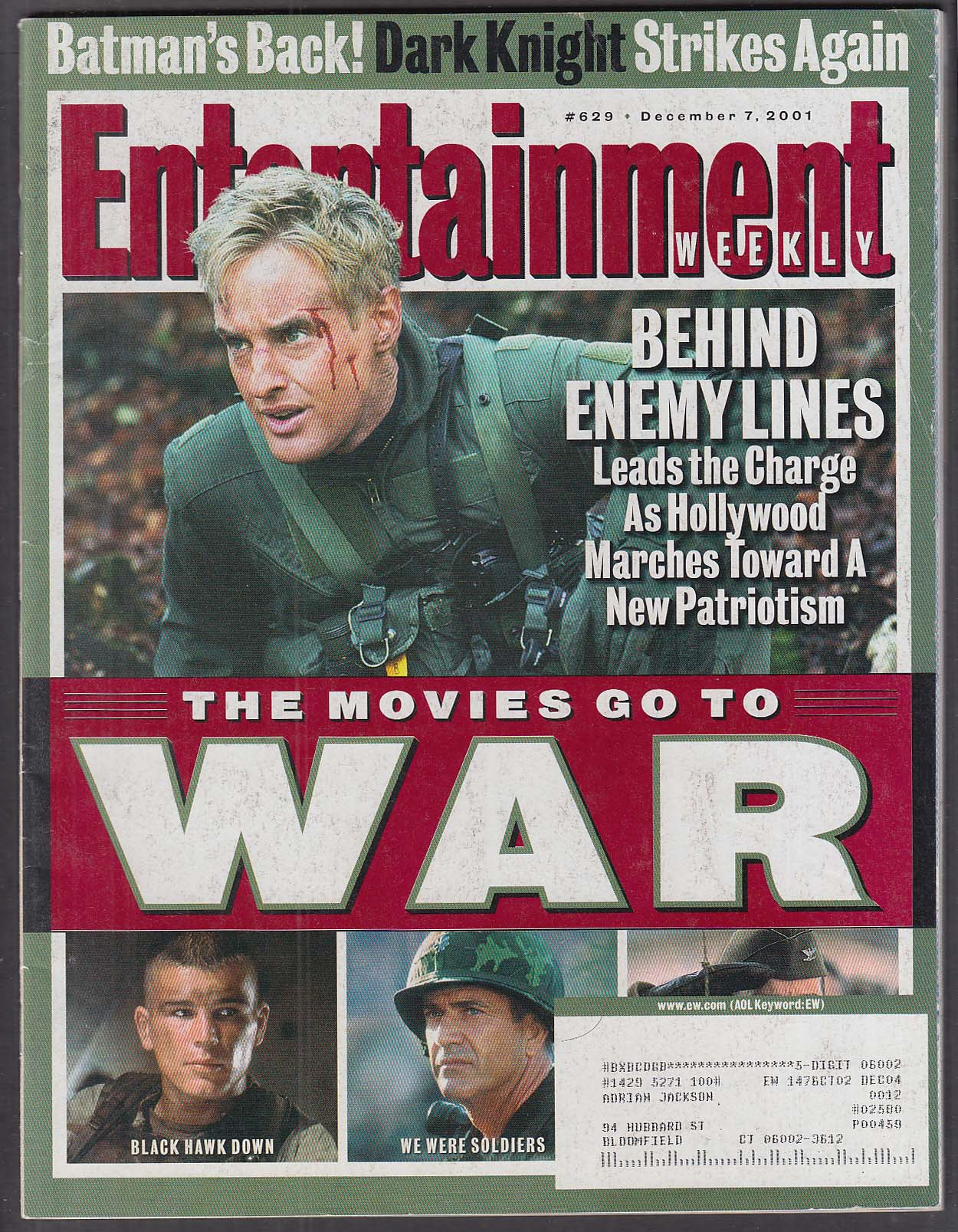 ENTERTAINMENT WEEKLY #629 Frank Miller James Taylor Black Hawk Down ++ 12/7 2001