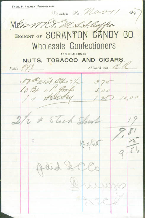 Scranton Candy Co Wholesale Confectioners Nuts Invoice 1897 PA