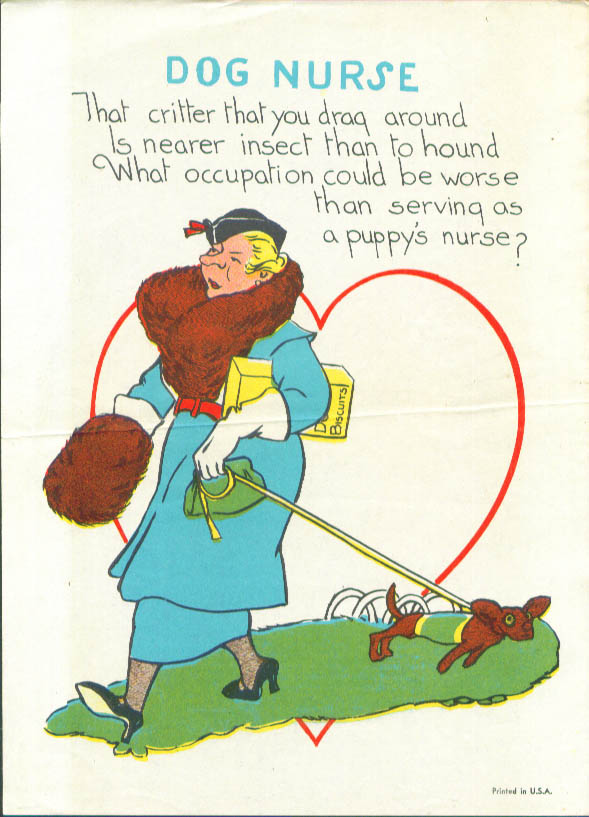 Dog Nurse comic caricature Valentine 1940s