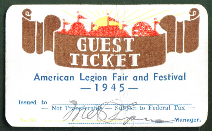 American Legion Fair & Festival 1945 Guest Ticket