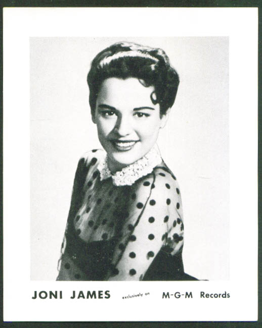 Joni James M-G-M Records promotional card 1950s