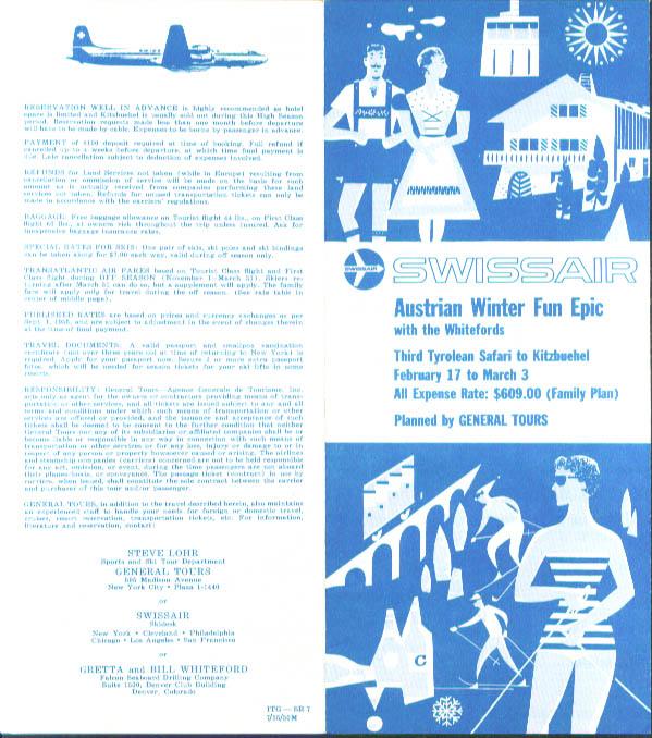 Image for Swissair Austrian Winter Fun Epic folder 1955