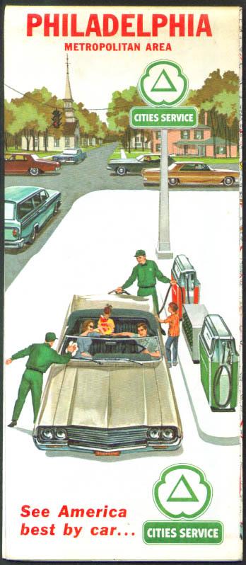 Cities Service Gasoline Road Map Philadelphia Metropolitan Area 1964