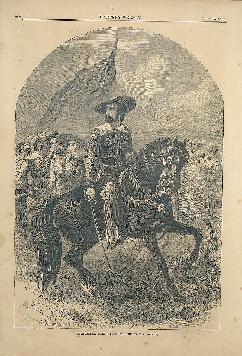 Major General John C Fremont prairie costume Harper's Weekly page 7/13 1861