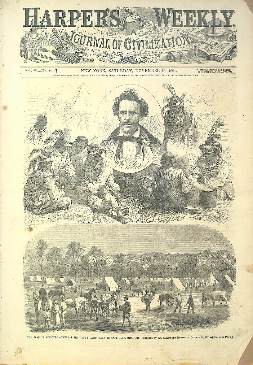 Indian Scouts Lane's Camp Humansville MO Harper's 1861