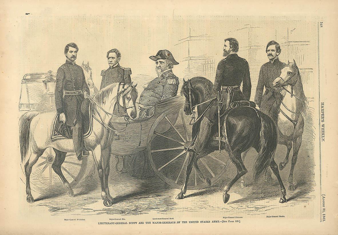 Gen McClellan Dix Scott Fremont Banks Harper's 1861