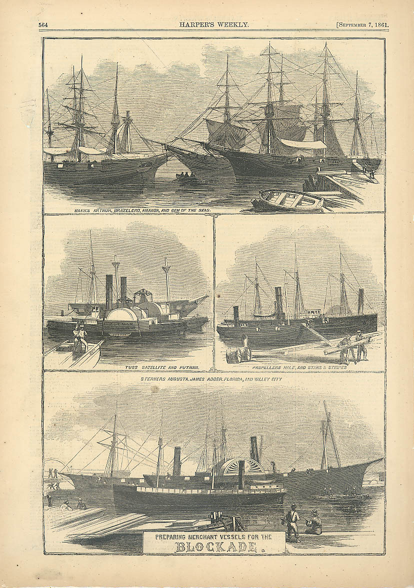 Union Mechant Vessels set for Confederate Blockade Harper's Weekly page 9/7 1861