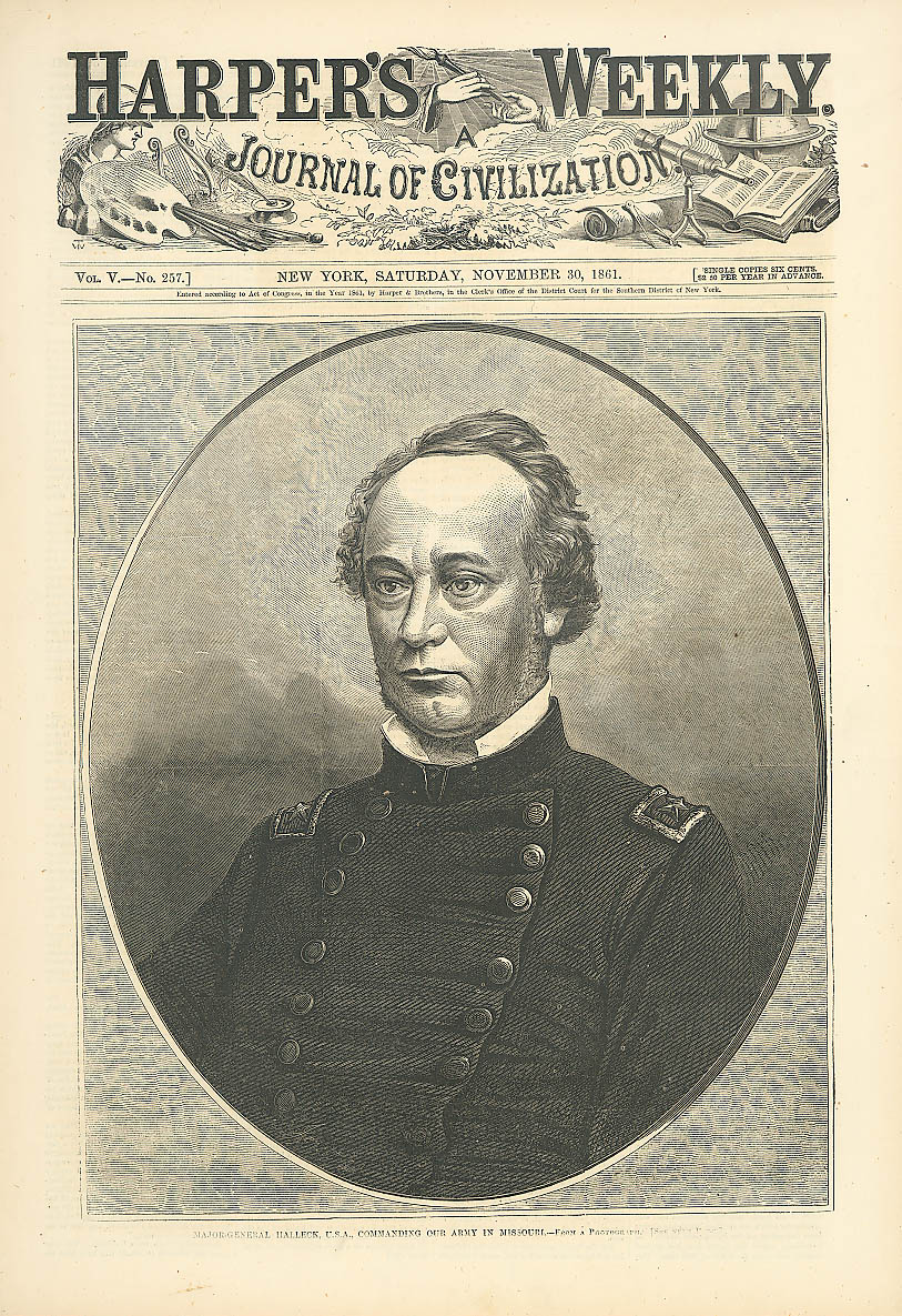 General Henry Halleck Missouri Troop Commander Harper's Weekly page 11/30 1861