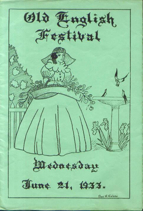 Old English Festival Hartford YWCA program 1933 CT