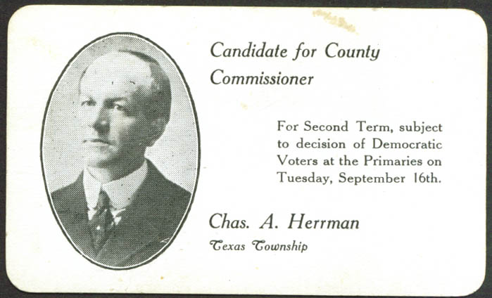 Chas A Herrman County Commissioner Texas card 1920s