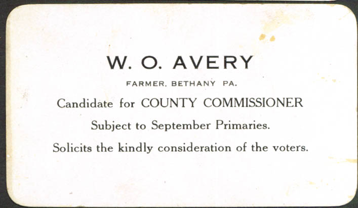 W O Avery County Commissioner Bethany PA card 1920s