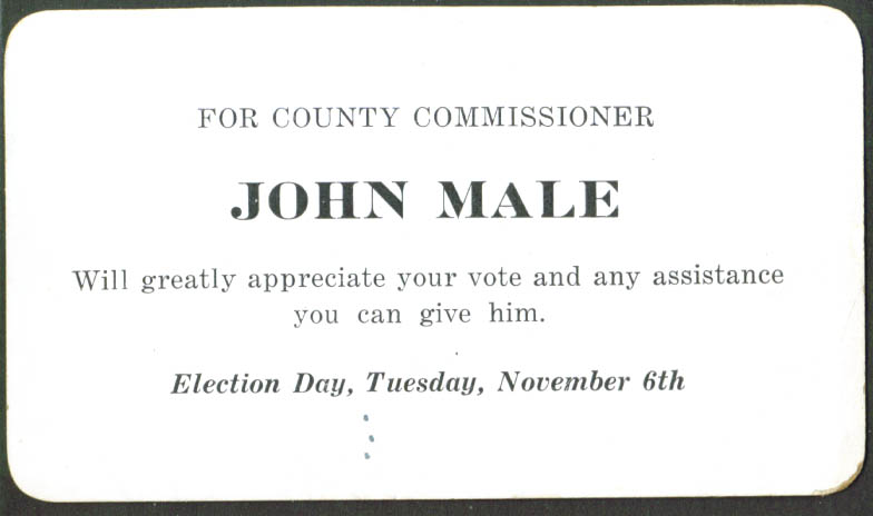 John Male County Commissioner card 1920s PA