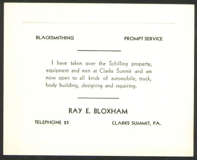 Ray E Bloxham Blacksmith Clarks Summit PA card 1920s
