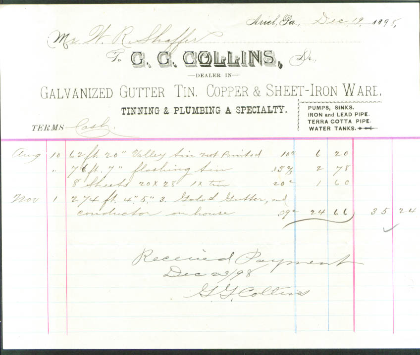 G G Collins Galvanized Gutter billhead Ariel PA 1898