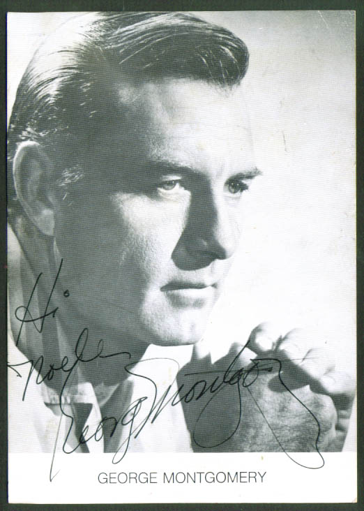 Actor George Montgomery AUTOGRAPHED card 1950s