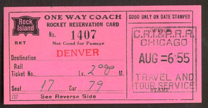 Image for Rock Island RR Coach Rocket Reservation Card 1955