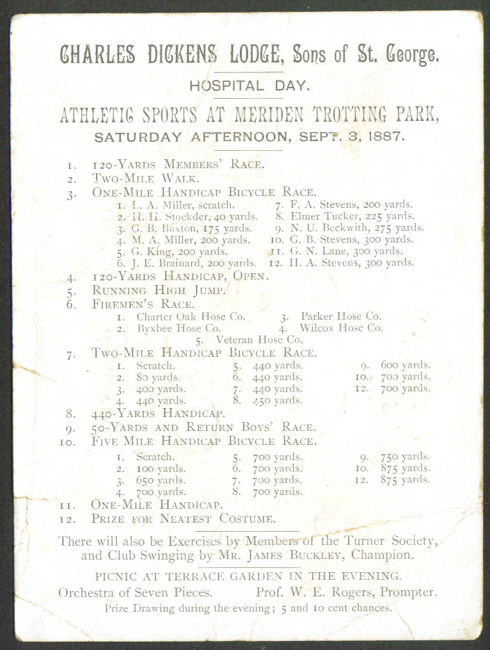 Image for Sons St George Bicycle Race Card Meriden CT 1887