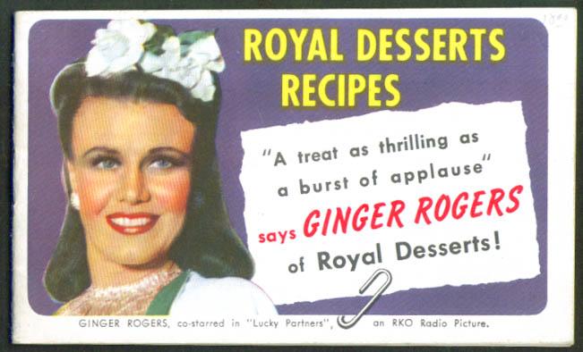 Ginger Rogers Royal Desserts Recipes Booklet 1940