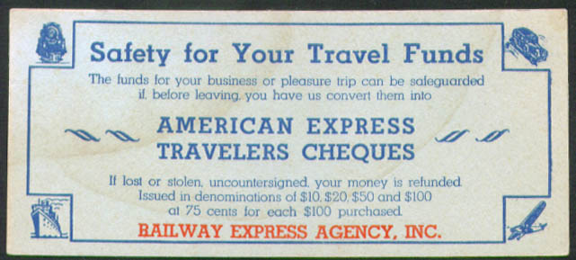 Safety American Express Traveles Cheques blotter 1930s