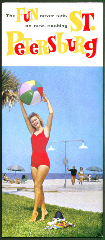 Fun Never Sets St Petersburg FL tourist folder 1960s