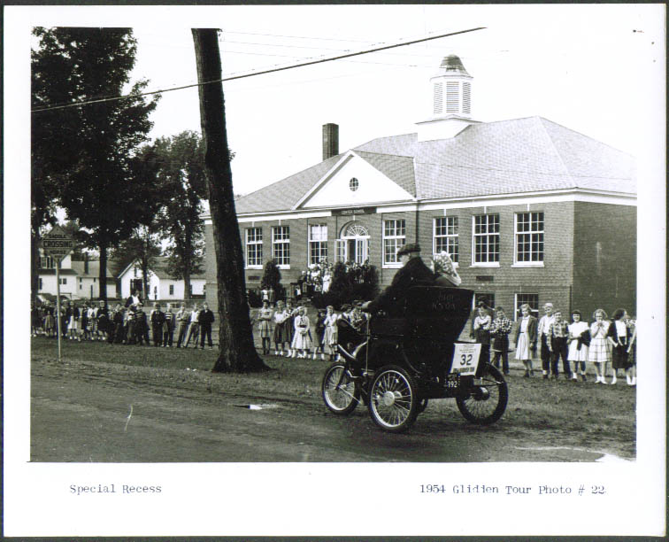 1901 Knox at Center School VT? Glidden Tour 1954 4x5