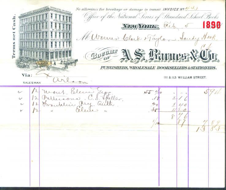 A S Barnes Publishers New York 1890 billhead