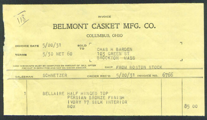 Bellaire Casket Co Columbus OH billhead 1931