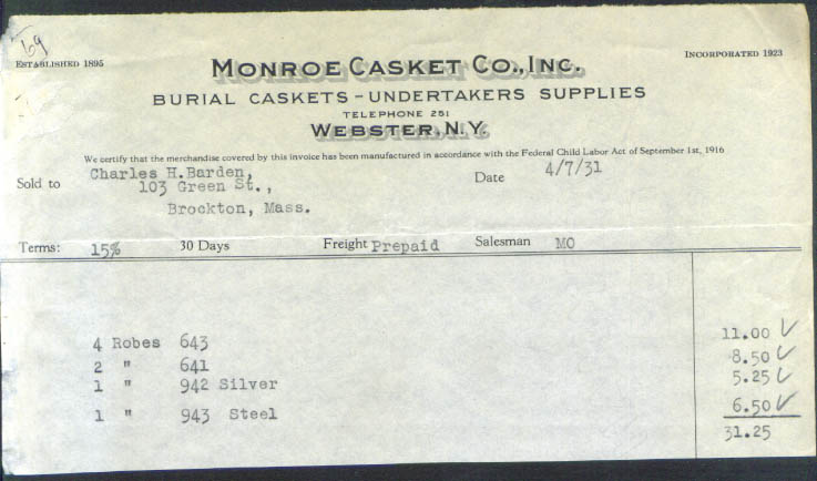 Monroe Casket Webster NY robes billhead 1931