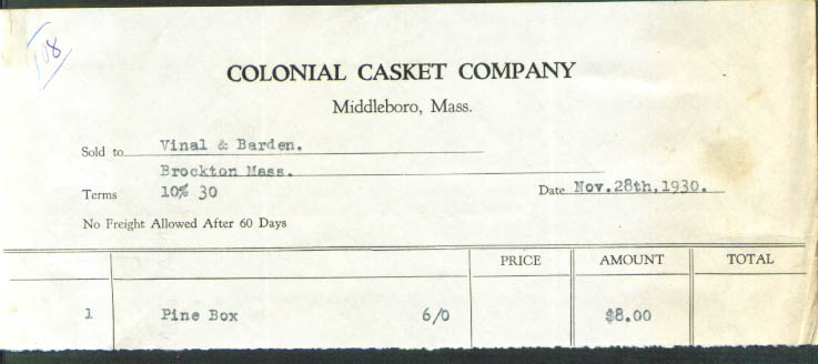 Colonial Casket Middleboro MA pine box billhead 1930
