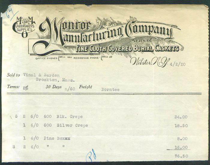 Monroe Manufacturing Burial Casket Webster NY billhead 1920