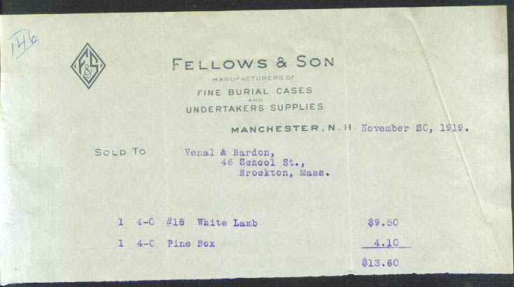 Fellows & Son Burial Cases Manchester NH billhead 1919