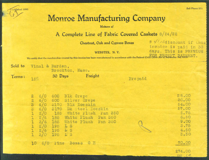 Monroe Manufacturing Fabric Lined Caskets Webster NY billhead 1922