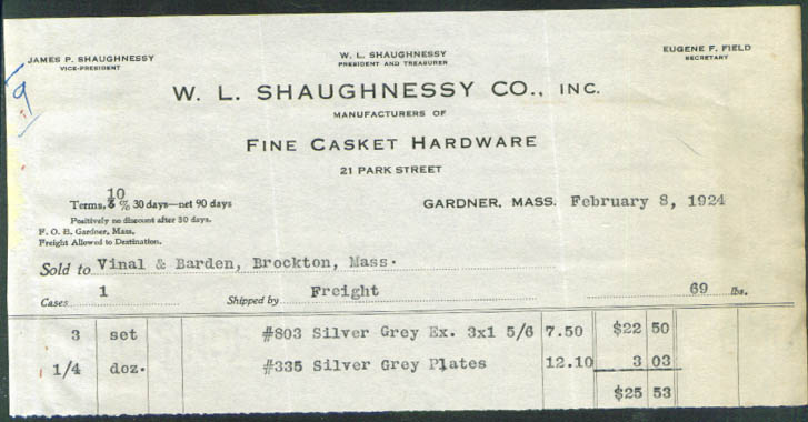 W L Shaughnessy Casket Hardware Gardner MA billhead 1924