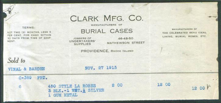 Clark Burial Cases Providence Ri billhead 1915