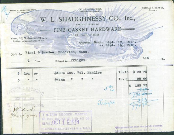 W L Shaughnessy Casket Hardware Gardner MA billhead '18