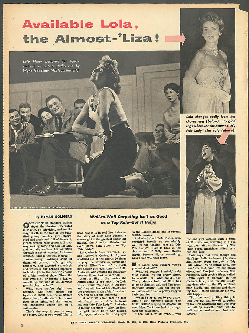 NEW YORK MIRROR Jane Morgan Dr Leo Michel Bob Hope Lola Fisher 3/30 1958