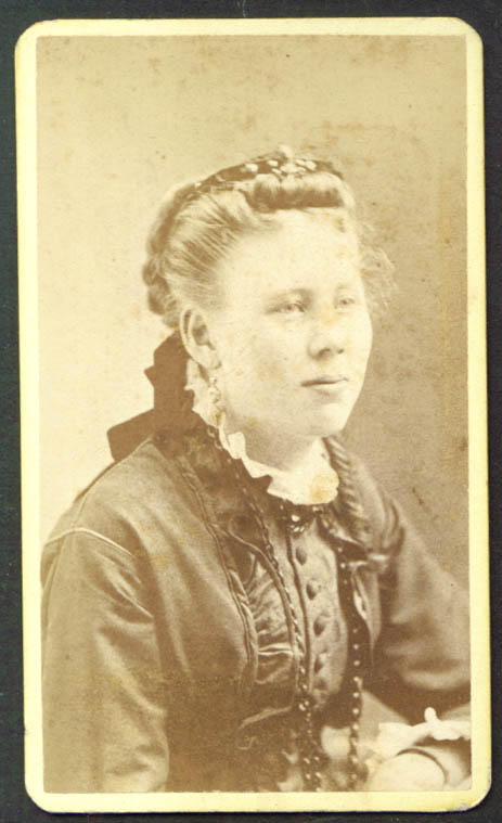 Young blonde woman CDV by A J Jackson Rockland ME