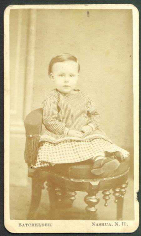 Child in stripes & checks CDV by Batchelder Nashua NH