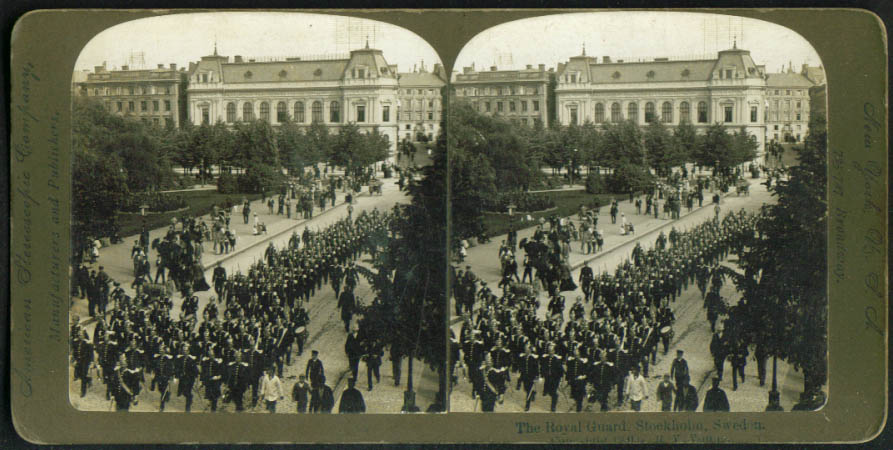 Image for Royal Guard Parade Stockholm Sweden stereoview 1900