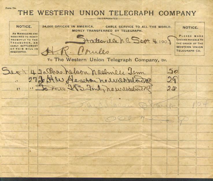 Western Union Statesville NC billhead 1909