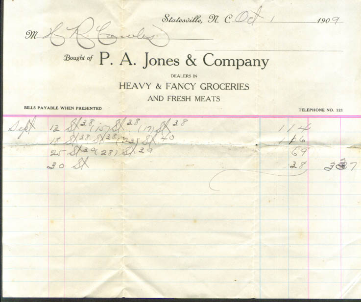 P A Jones Heavy Groceries Statesville NC billhead 1909