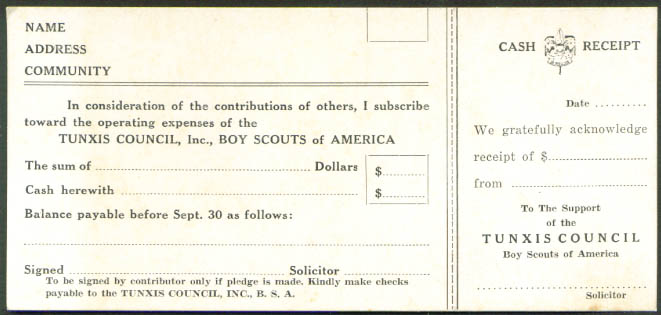 Boy Scouts Tunxis Council CT donor receipt card 1950s