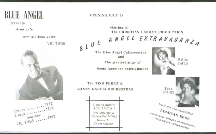 Vic Taos Billie Dale Tina Paris Blue Angel Chicago 1962