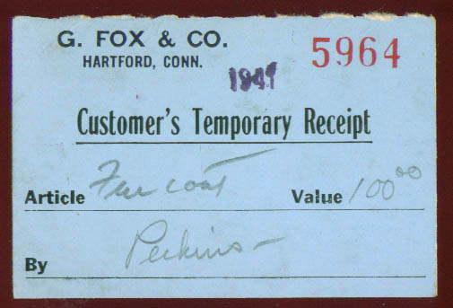 G Fox & Company Temporary Fur Receipt 1941 Hartford CT