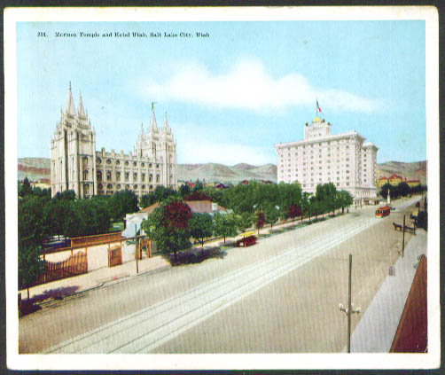 Temple Hotel Utah Salt Lake City jumbo postcard 1910s