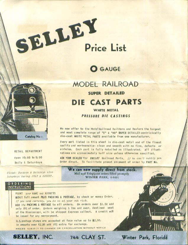 Selley O-Gauge HO-Gauge Die Cast Parts Catalog 50s