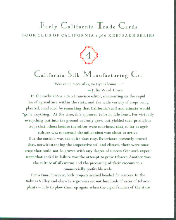 Image for California Silk Manufacturing Trade Card keepsake 1966